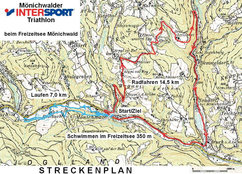 Streckenplan Mönichwalder Triathlon